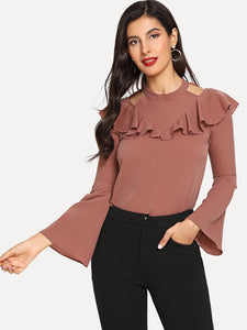SOLID OPEN SHOULDER RUFFLE HEM BELL SLEEVE BLOUSE