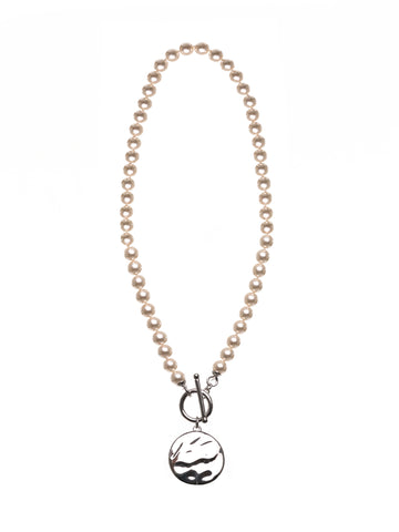 Pearl Fob/ring Clasp Necklace