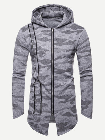 Men Camouflage Print Zip Up Hoodie