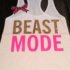Beastmode Racerback Tank - Workout Tank - Workout Clothing - Fitness Tank - Bow Tank - Ruffles with Love