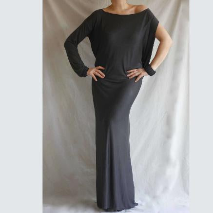 Asymmetric Kaftan Jersey Dress in Charcoal Gray