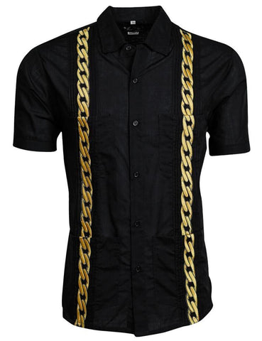 BLACK LUX WITH GOLD CUBAN LINKS GUAYABERA