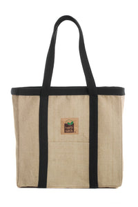 HERBSACK ORGANIC HEMP LINDA PREMIUM CANVAS TOTE BAG IN NATURAL WITH BLACK TRIM