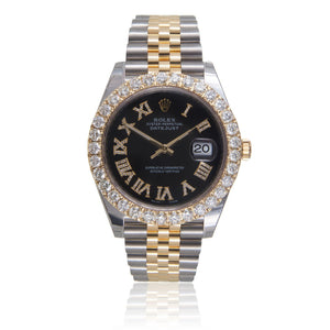 Rolex Two-Tone DateJust 41mm 5.5ct Diamond Bezel Automatic Men's Watch