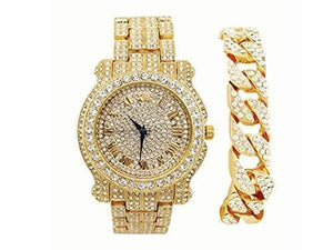 BLINGED OUT LUXURY WATCH WITH BLINGED OUT CUBAN BRACELET