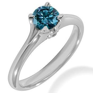 Blue Diamond Solitaire Engagement Ring