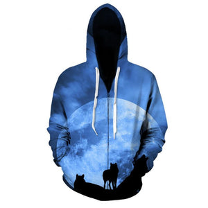 BLUE MOON WOLF ZIP-UP