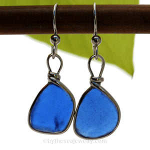 Lightweight Bright Cobalt Blue Genuine Sea Glass Earings Solid Sterling Silver Original Wire Bezel©