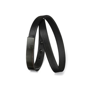 """U-TURN TWICE"" FULL BLACK LEATHER BRACELET"