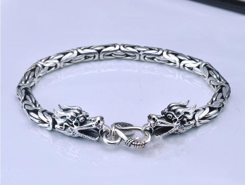 Artisan-Crafted Legendary Dragon Head Bracelet in Solid-Weight 925 Sterling Silver