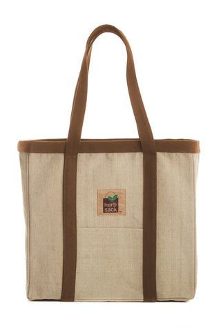 HERBSACK ORGANIC HEMP LINDA PREMIUM CANVAS TOTE BAG IN NATURAL WITH BROWN TRIM