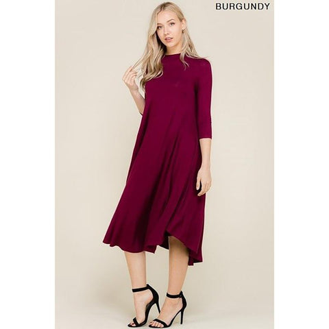 Maternity Midi Dress Burgundy/Mint