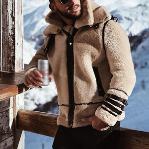 BEIGE MENS FAUX LAMBSWOOL SHEARLING JACKET WARM AND THICK WINTER COAT S-4XL