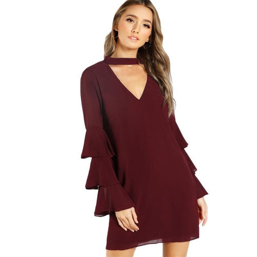 Women's Burgundy Long Sleeve Layered Flare Dress