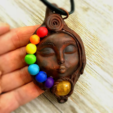 Chakra Goddess Necklace, Mother Earth Tigers Eye Goddess Pendant C