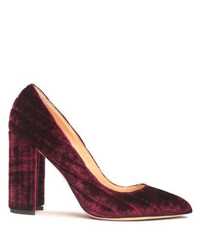 Bordeaux Velvet Pointed Low Pump