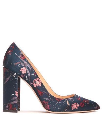 Floral Satin Pointed Low Pump
