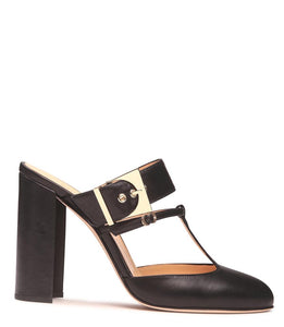 Black Leather Oversized Buckle Mule