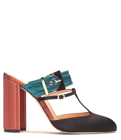 Teal/Orange Satin Oversized Buckle Mule