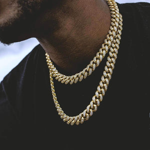 Diamond Cuban Link Choker (10mm) in Yellow Gold