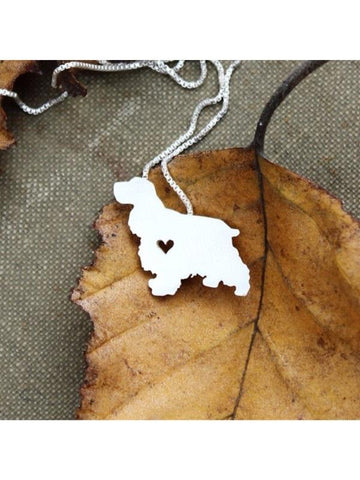 Cocker Spaniel with a Heart Silver Plate Necklace - Proceeds Go to Animal Rescue