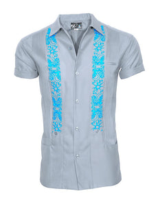 GREY LUX UNDER TURQUOISE SKIES GUAYABERA