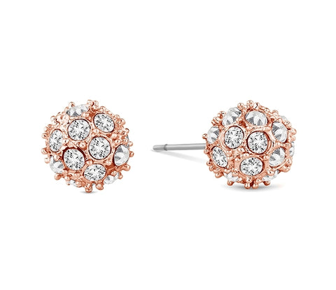 Crystal Ball Studs in Rose Gold Plating