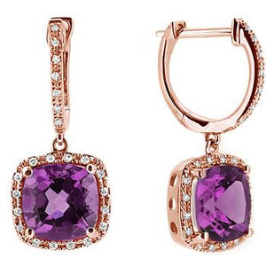 Cushion Cut Amethyst Diamond Dangle Drop Earrings 14k Rose Gold
