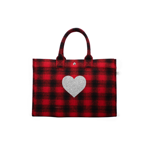 LOVE COLLECTION: EAST WEST BAG RED FLANNEL PLAID WITH SILVER GLITTER HEART