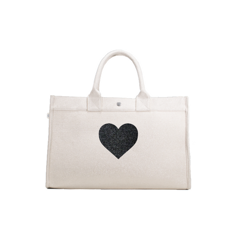LOVE COLLECTION: EAST WEST BAG NATURAL METALLIC WITH BLACK GLITTER HEART