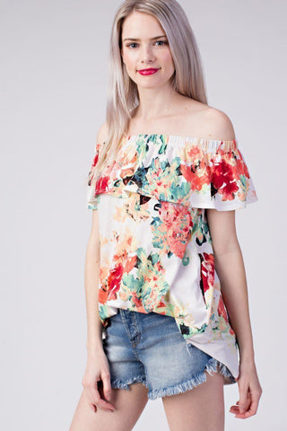 Mittoshop Jersey Floral Off Shoulder Pocketed Tunic Top