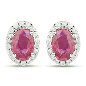 Oval Cut Red Ruby White Diamond Halo Stud Earrings