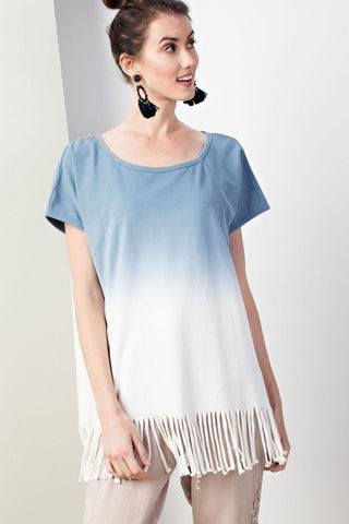 Easel Ombre Dye Fringe Knit Tunic Top