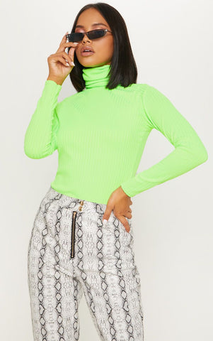 NEON LIME RIB ROLL NECK LONG SLEEVE TOP
