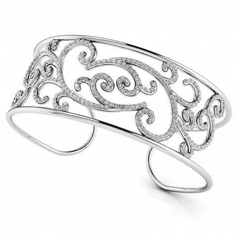 Diamond Bangle Floral Cuff Bracelet