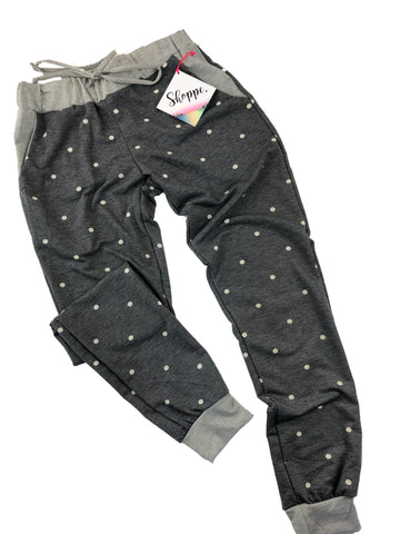 POLKA DOT JOGGER W/POCKETS- GREY