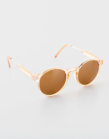 ROUND SUNGLASSES BROWN LENS