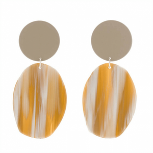 Oval 'Geology' Acetate Drop Earrings