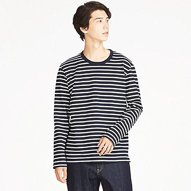 MEN WASHED STRIPED LONG-SLEEVE T-SHIRT