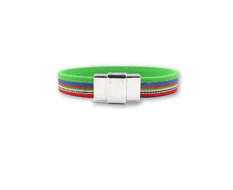 Multicolored Green Blue Red Ribbon Bracelet