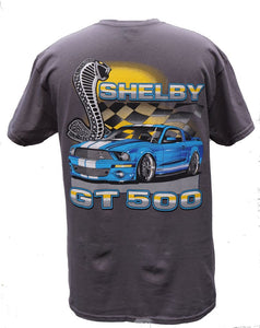 Shelby GT 500 t shirt with blue car