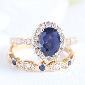Luna Halo Bridal Set in Scalloped Band w/ Sapphire and Bezel Diamond Ring
