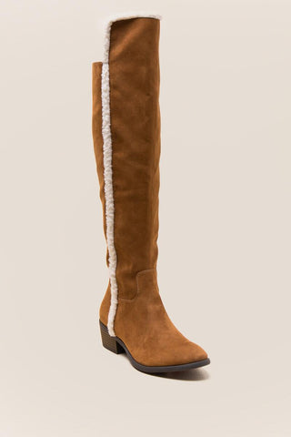 MIA Fawn Shearling Trim Over the Knee Boot