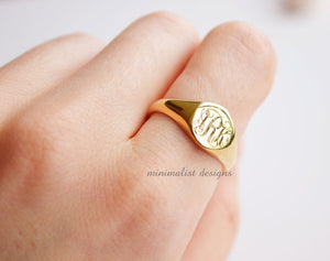 Sterling Silver, Gold Signet Ring, womens signet ring, custom signet ring, monogram, Gold signet, Engraved Ring, Bridesmaids Ring