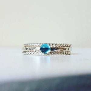 Blue Topaz Stacking Ring Set, Sterling Silver