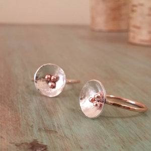 Dreamland Poppy Ring, Sterling Silver and 14k Rose Gold Filled