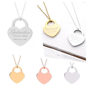 Godmother Gift | Godmother Necklace | Gift ideas for Godmothers | Personalised Gift for Godmother | Lock Heart Necklace (B016)
