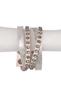 METALLIC STUDDED LEATHER BRACELET