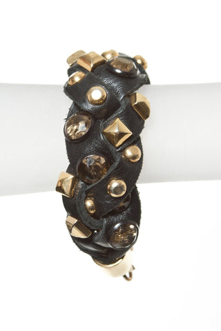 BRAIDED LEATHER CUFF WITH GOLD STUDS
