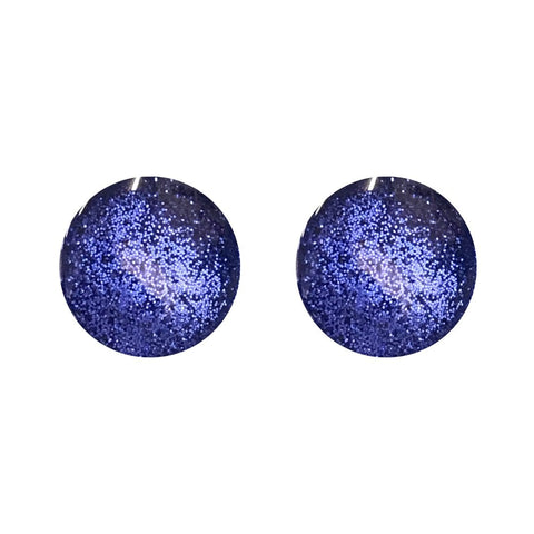 Behind the Door Jewellery and Accessories Deep Blue Metallic Glass Stud Earrings